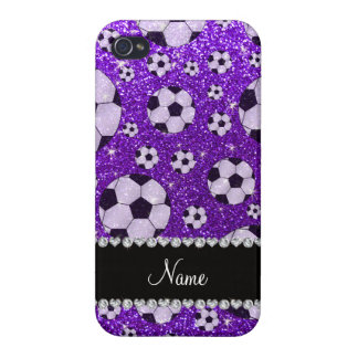 Personalized name indigo purple glitter soccer cases for iPhone 4