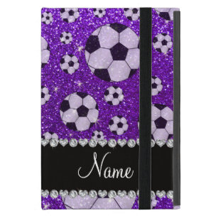 Personalized name indigo purple glitter soccer iPad mini case