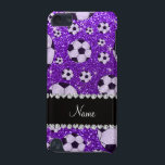 "Personalized name indigo purple glitter soccer iPod touch (5th generation) case<br><div class=""desc"">Soccer gift ideas. Modern, girly, chic and trendy Custom name sports indigo purple soccer balls pattern background glitter sparkles (faux not real glitter) with pretty black diamonds (faux not real diamonds) with beautiful hearts and dots stripe personalized with just add your name gifts or monogram gifts or your initials for...</div>"