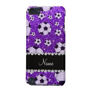 Personalized name indigo purple glitter soccer iPod touch (5th generation) case