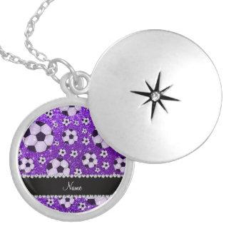 Personalized name indigo purple glitter soccer pendants