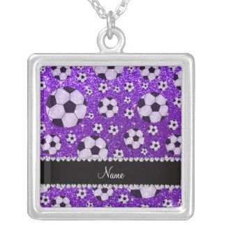 Personalized name indigo purple glitter soccer necklace