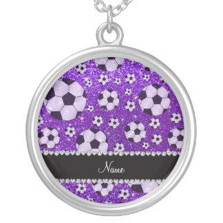 Personalized name indigo purple glitter soccer custom necklace