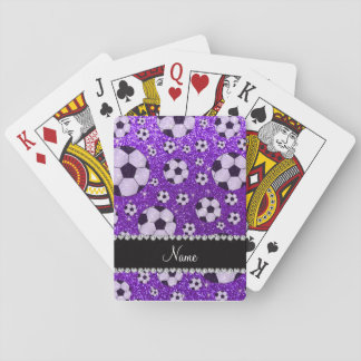 Personalized name indigo purple glitter soccer playing cards