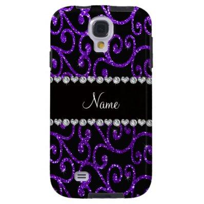 Personalized name indigo purple glitter swirls