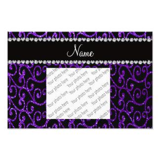 Personalized name indigo purple glitter swirls photo print