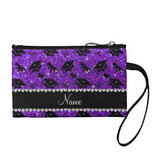Personalized name indigo purple graduation hearts coin wallet