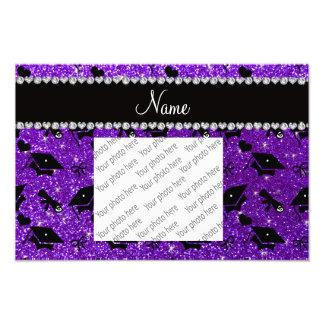 Personalized name indigo purple graduation hearts photo print