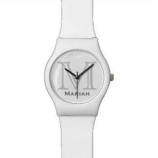 personalized name & initial letter wrist watch
