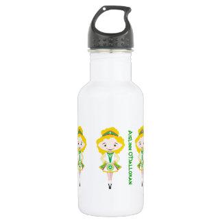 Personalized name irish dancing troupe blonde hair water bottle