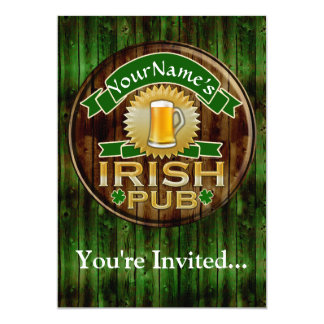 Personalized Name Irish Pub Sign St. Patrick's Day 5x7 Paper Invitation Card