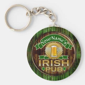 Personalized Name Irish Pub Sign St. Patrick's Day Basic Round Button Keychain