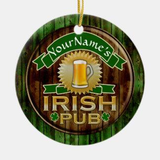 Personalized Name Irish Pub Sign St. Patrick's Day Ceramic Ornament