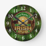 Personalized Name Irish Pub Sign St. Patrick's Day Round Wall Clocks
