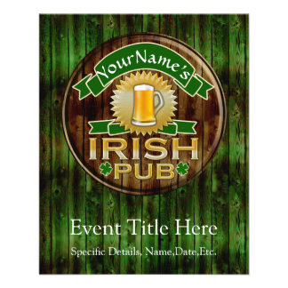 Personalized Name Irish Pub Sign St. Patrick's Day Flyer