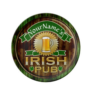 Personalized Name Irish Pub Sign St. Patrick's Day Porcelain Plate