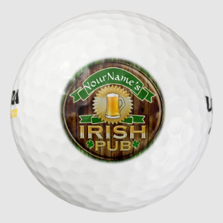 Personalized Name Irish Pub Sign St. Patrick's Day Pack Of Golf Balls