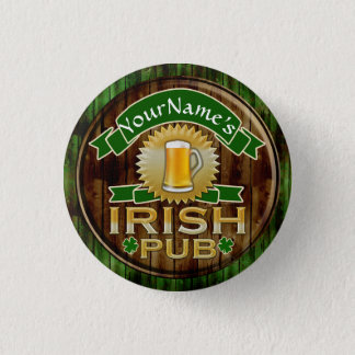 Personalized Name Irish Pub Sign St. Patrick's Day Pinback Button