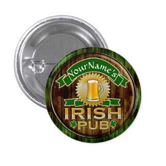 Personalized Name Irish Pub Sign St. Patrick's Day Pinback Button