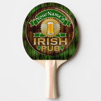 Personalized Name Irish Pub Sign St. Patrick's Day Ping-Pong Paddle