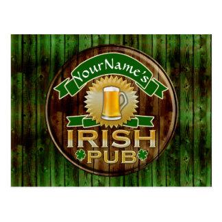Personalized Name Irish Pub Sign St. Patrick's Day Postcard