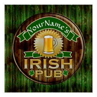Personalized Name Irish Pub Sign St. Patrick's Day Poster