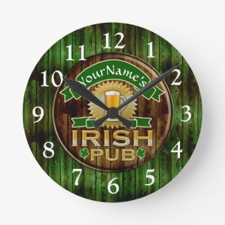Personalized Name Irish Pub Sign St. Patrick's Day Round Clock