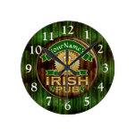 Personalized Name Irish Pub Sign St. Patrick's Day Round Clock
