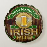 Personalized Name Irish Pub Sign St. Patrick's Day Round Pillow
