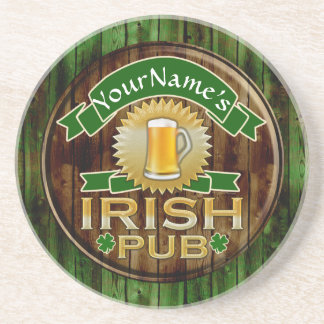 Personalized Name Irish Pub Sign St. Patrick's Day Sandstone Coaster