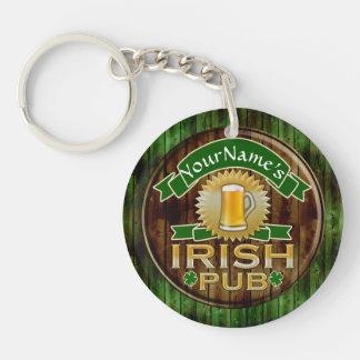 Personalized Name Irish Pub Sign St. Patrick's Day Single-Sided Round Acrylic Keychain