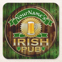 Personalized Name Irish Pub Sign St. Patrick's Day Square Paper Coaster