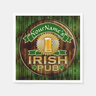 Personalized Name Irish Pub Sign St. Patrick's Day Standard Cocktail Napkin