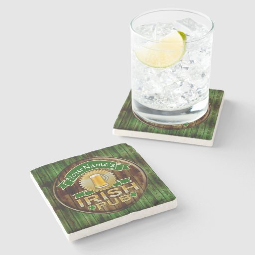 Personalized Name Irish Pub Sign St Patrick 39 S Day Stone Coaster Zazzle