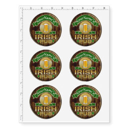 Personalized Name Irish Pub Sign St. Patrick's Day Temporary Tattoos