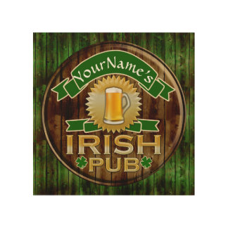 Personalized Name Irish Pub Sign St. Patrick's Day Wood Canvases