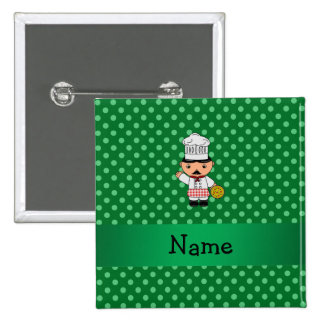 Personalized name italian chef green polka dots buttons