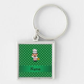 Personalized name italian chef green polka dots keychain