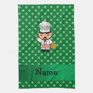 Personalized name italian chef green polka dots hand towel