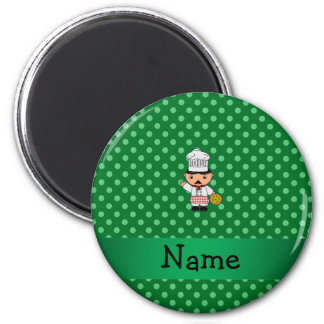 Personalized name italian chef green polka dots fridge magnets