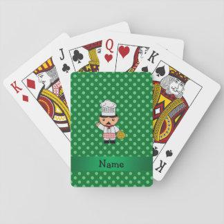 Personalized name italian chef green polka dots poker deck