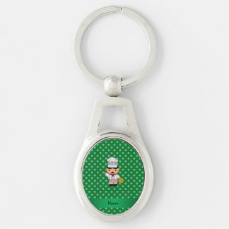 Personalized name italian chef green polka dots key chains