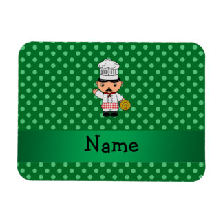 Personalized name italian chef green polka dots rectangle magnets