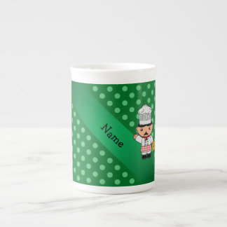Personalized name italian chef green polka dots porcelain mug