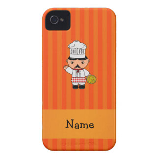 Personalized name italian chef orange stripes Case-Mate iPhone 4 cases