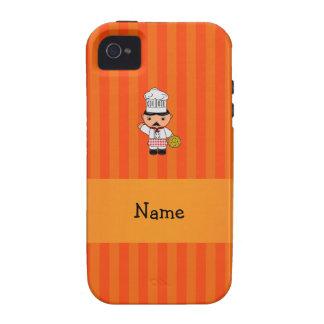 Personalized name italian chef orange stripes iPhone 4/4S cases