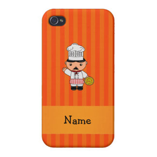 Personalized name italian chef orange stripes iPhone 4 covers