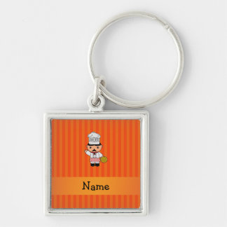 Personalized name italian chef orange stripes key chain