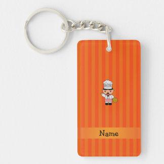 Personalized name italian chef orange stripes rectangular acrylic key chain