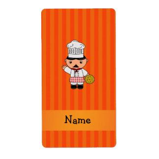 Personalized name italian chef orange stripes shipping label
